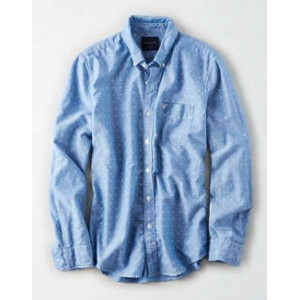 AE Seriously Soft Printed Oxford Button-Down Shirt