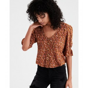 AE Button Up Short Sleeve Top