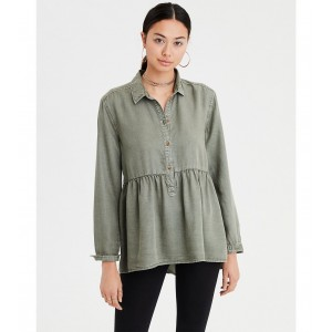 AE Half-Button Peplum Top