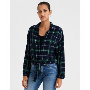 AE Ahhmazingly Soft Plaid Tie Front Top