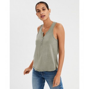 AE Raw Edge Henley Tank Top