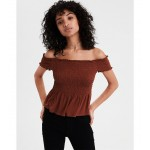 AE Smocked Off-The-Shoulder Crop Top