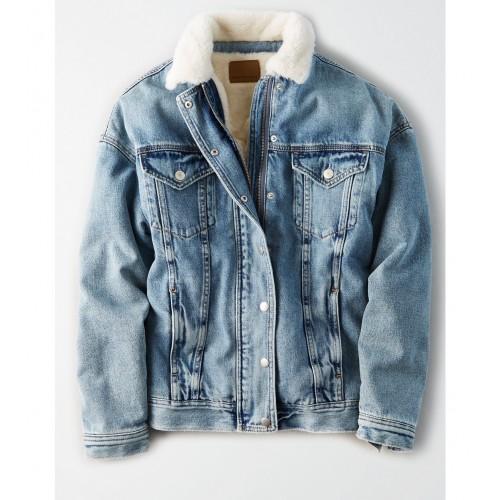 아메리칸 이글 AE Fur Lined Boyfriend Denim Jacket