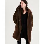 AE Fur Lined Contrast Sleeve Coat