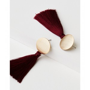 AEO Gold And Red Fabric Tassel Earring