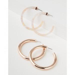 AEO Pink Tort & Metal Hoop Earring 2-Pack