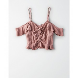 Don't Ask Why Cinch Front Ruffle Crop Top