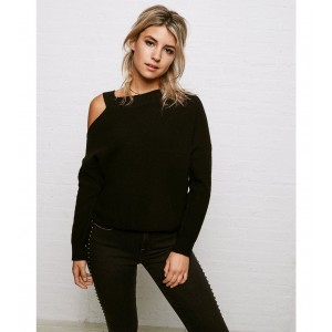 Don't Ask Why Cutout Crew Neck Sweater