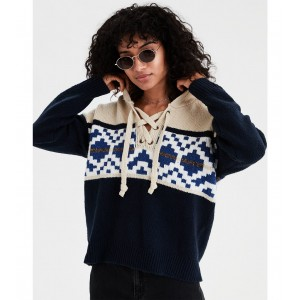 AE Chunky Pattern Lace Up Hoodie Sweater