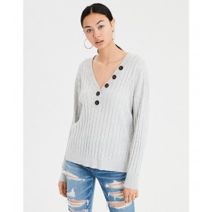 AE Ribbed Henley V-Neck Pullover Sweater