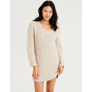 AE V-Neck Cable Knit Sweater Dress