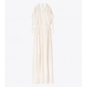 EVALENE TIE-SHOULDER DRESS