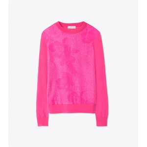 FLORAL CLOQUEE-FRONT SWEATER