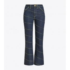 Asymmetric Stitch Denim Pant