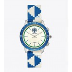 COLLINS HYBRID SMARTWATCH, BLUE/IVORY/NAVY/STAINLESS STEEL, 38 MM
