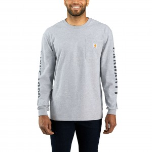 Workwear Double Sleeve Graphic Long-Sleeve Pocket T-Shirt