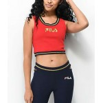 FILA Bonita Red & Gold Crop Tank Top