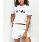 Obey New World White Mock Neck Crop T-Shirt