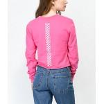 Vans Checkerboard Hot Pink Long Sleeve Crop T-Shirt