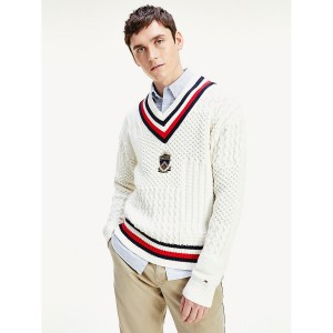 Crest Mixed Cable Knit Sweater