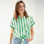 Cropped Tie-Waist Stripe Shirt