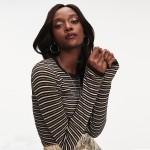 Zendaya Metallic Stripe Sweater