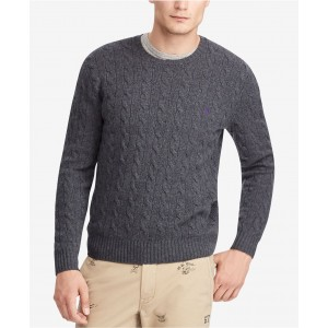 Mens Cashmere Wool Blend Cable-Knit Sweater