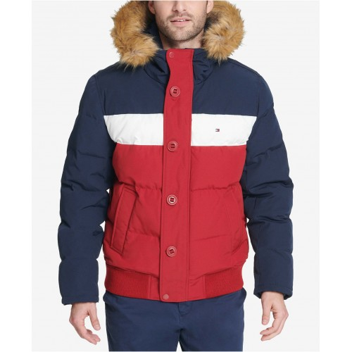 타미힐피거 Mens Big & Tall Short Parka Jacket with Faux Fur Hood