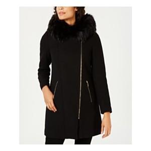 Faux-Fur-Trim Hooded Asymmetrical Coat