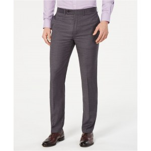Mens Slim-Fit Performance Stretch Wrinkle-Resistant Gray Mini-Grid Dress Pants