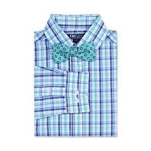 Big Boys Stretch Plaid Shirt & Dot Bow Tie
