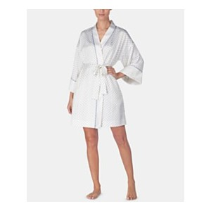 Contrast-Trimmed Printed Satin Wrap Robe