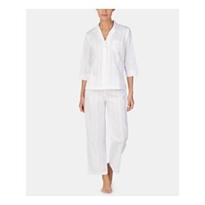 Woven Cotton Notch Collar Top and Pajama Pants Set