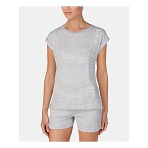 Stripe-Print Logo Short-Sleeve Pajama Top