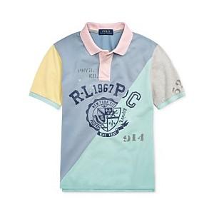 Big Boys Patchwork Cotton Mesh Polo Shirt