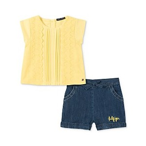 Baby Girls 2-Pc. Top & Denim Shorts Set