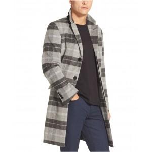 Mens Plaid Top Coat