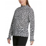 Petite Animal Printed Ruffle-Neck Top