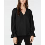 V-Neck Ruffled-Cuff V-Neck Shirt, Regular & Petite Sizes