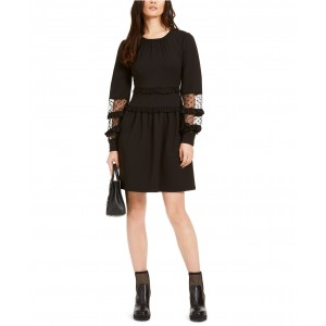 Lace-Trimmed Scuba Dress, Regular & Petite Sizes