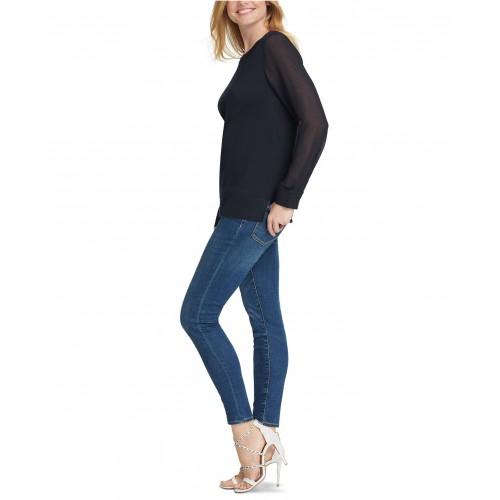 디케이엔와이 Sheer-Sleeve Sweater