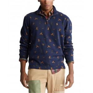 Mens Duck-Print Quarter-Zip Pullover