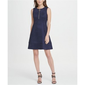 Suede Zip Fit Flare Dress