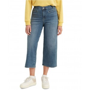 Womens Wide-Leg Cropped Jeans