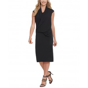 Draped Crossover-Front Dress