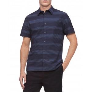 Mens Short Sleeve Stretch Cotton Stripe Shirt