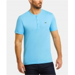 Mens Regular Fit Short Sleeve Pima Cotton Henley T-Shirt