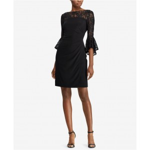 Petite Lace Bell-Sleeve Dress