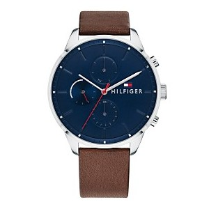 Mens Dark Brown Leather Strap Watch 44mm