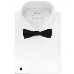 Mens Slim-Fit Solid French Cuff Dress Shirt & Pre-Tied Bow Tie Set